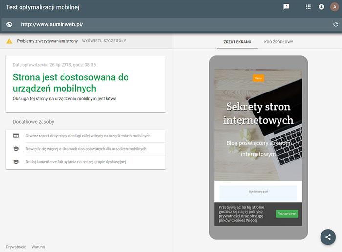 Test optymalizacji mobilnej - Google